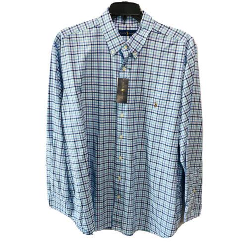Polo Ralph Lauren Mens Button Down Shirt 2XT 2XLT L/S Blue Oxford Classic Fit Casual Button-Down Shirts
