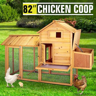 "82""Wooden Chicken Coop Poultry Cage Hen Duck House Pet Rabbit Hutch Run Backyard"