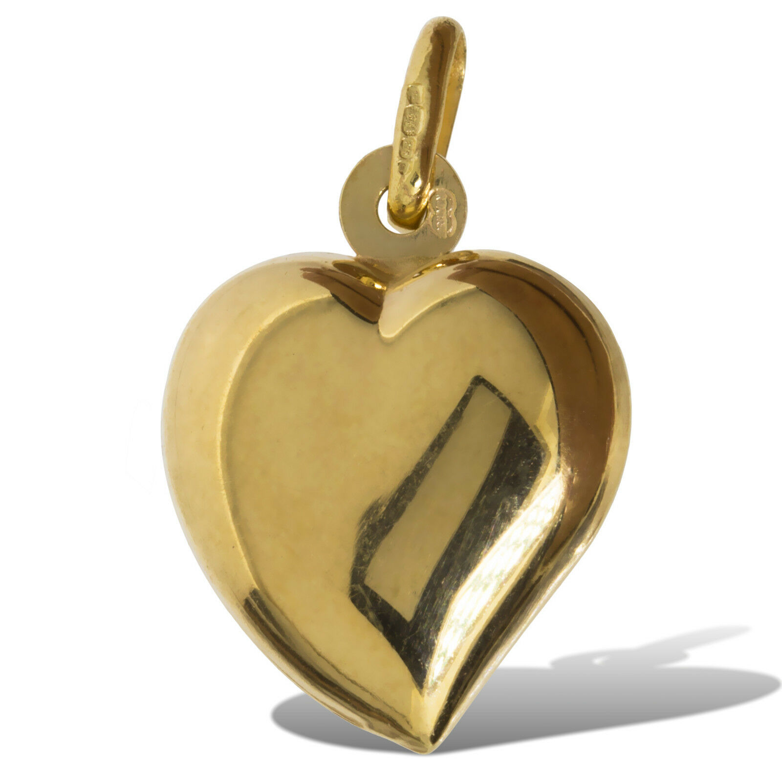 9CT GOLD HEART 14MM HEART POLISHED HANGING  HEART CHARM MEDAL BRACELET OR CHAIN
