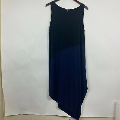 Eileen Fisher Womens Size Large Dress Black Midi Blue Sleeveles Loose Fit Casual