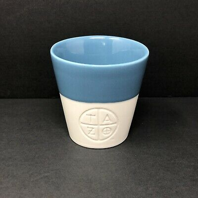 Starbucks TAZO Tea Cup Coffee Mug 8 oz White Teal Asymmetrical Porcelain 2011 12