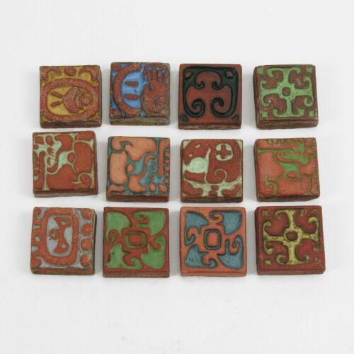 12 Batchelder Tile Co Los Angeles California arts & crafts Mayan design pottery