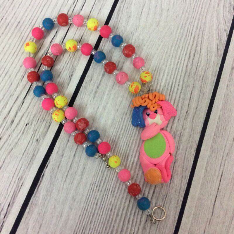 Toddler Girl Small Bead Necklace Party Popple Design Clay Pendant Neon Pink Blue
