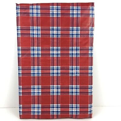 Patriotic Vinyl Tablecloth Red White and Blue Tartan Check Plaid Elrene Asst. Sz