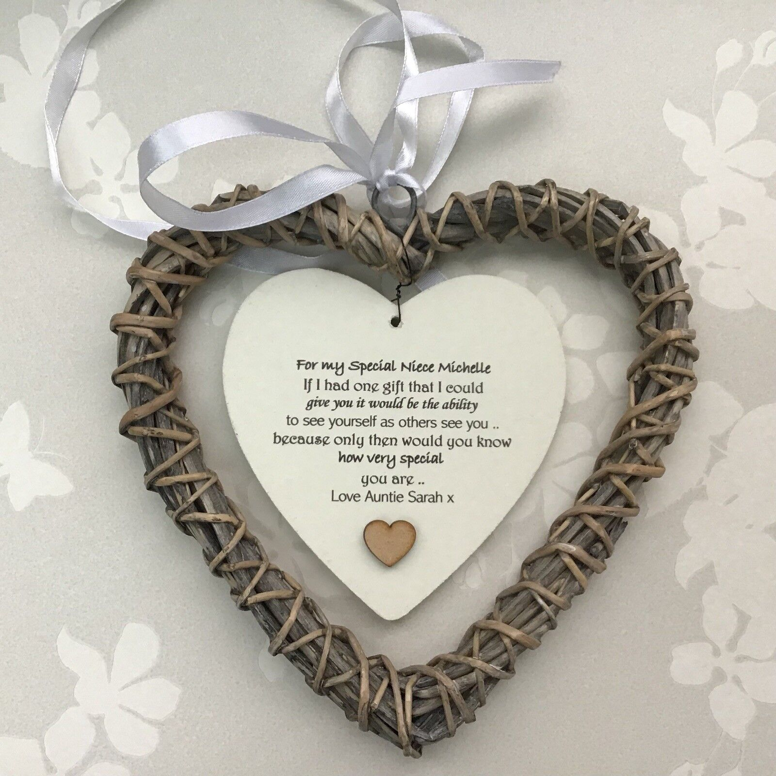 Shabby personalised Chic Special NIECE Gift ANY NAME Willow Heart BIRTHDAY XMAS - 253985017755