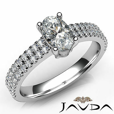 Double Prong Setting Womens Oval Diamond Engagement Ring GIA Certified F VS1 1Ct