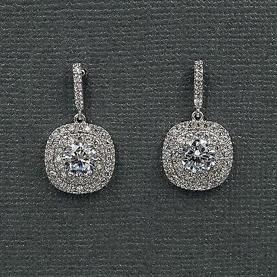 - 18K White Gold Plated Cubic Zirconia CZ Wedding Bridal Drop Dangle earrings 8164