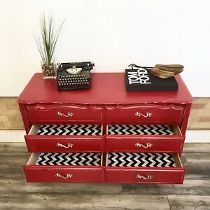 Red French Provincial Dresser