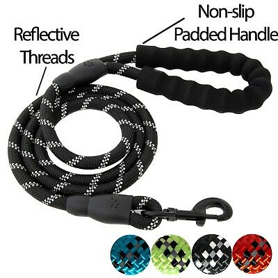 5 FT Service Dog Rope Leash Lead Training Padded Handle Reflective Nylon Puppy -