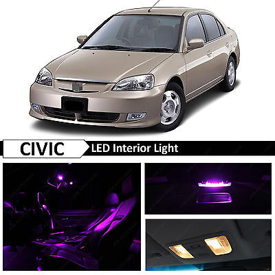 Purple Interior LED Light Package Kit Fit 2001-2005 Honda Civic Sedan Coupe