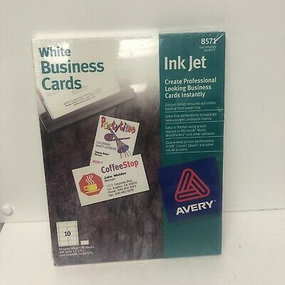Vintage Avery Ink Jet White Business Cards 350 23.5new Sealed 8571 102798