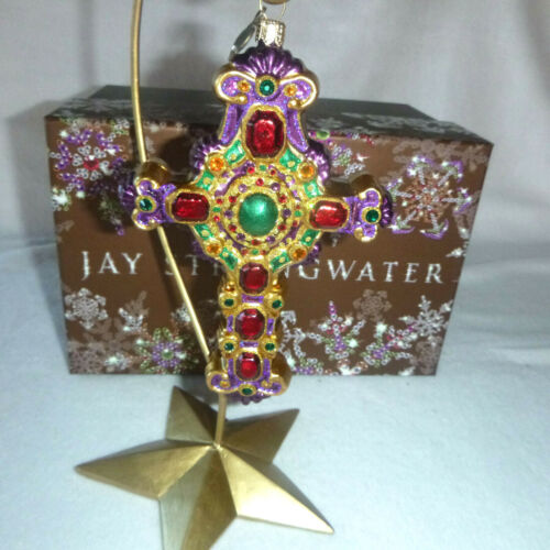"""Stunning Jay Strongwater 6"""" Gothic Cross Ornament with Swarovski Crystals + Box"""