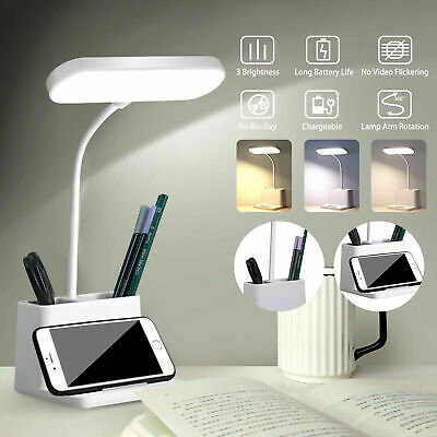 USB Rechargeable LED Desk Light Table Beside Reading Lamp Touch Control Dimmable