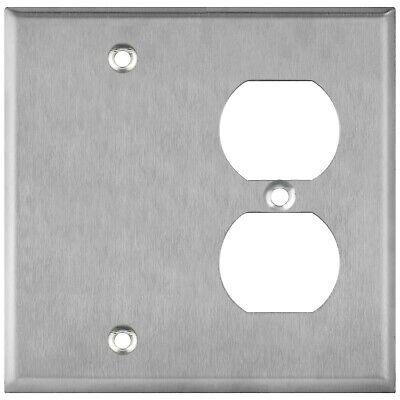 ENERLITES Combination Blank Duplex Receptacle Metal Wall Plate 2 Gang Gang Receptacle Wall Plate