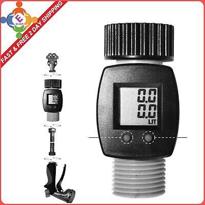 Water Flow Meter Sensor Consumption Control Lcd Display Gallon Yard Garden Hose