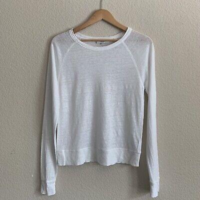 Vince Long Sleeve Top Blouse Sz M White Basic Knit 100% Linen Round Neck