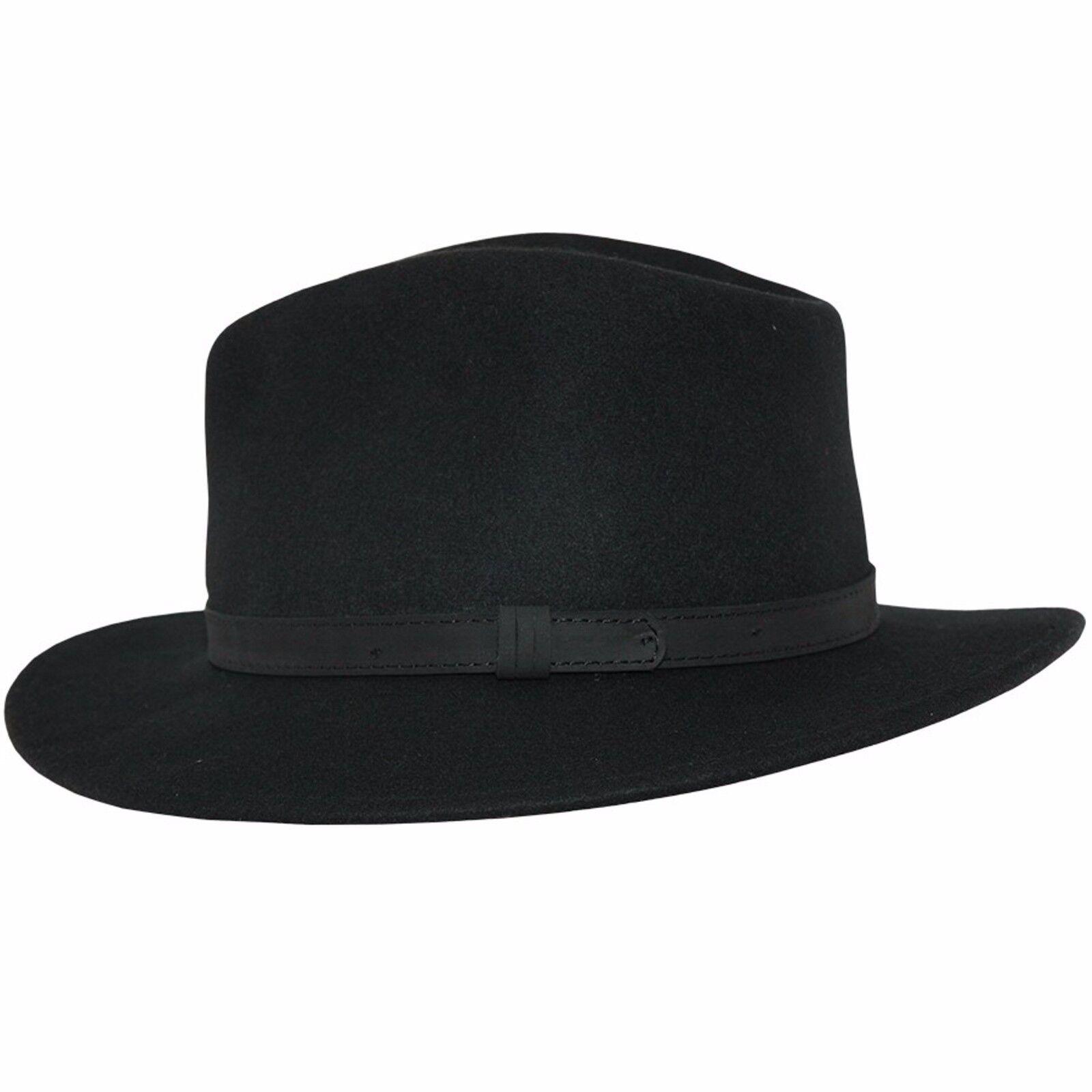 Negro deformable de caballeros 100% lana fieltro sombrero Fedora con cuero  tipo banda. b323d852305
