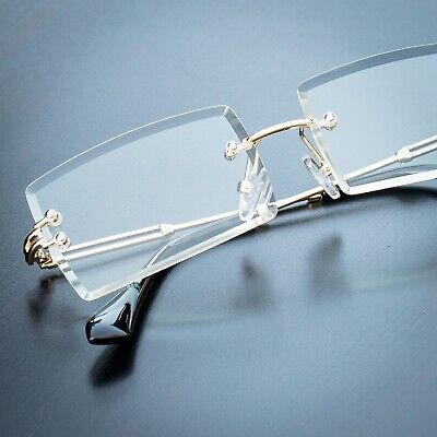 Men's Rectangular Sophisticated Gold Clear Lens Square Rimless Eye Glasses (Clear Glass Spectacles)