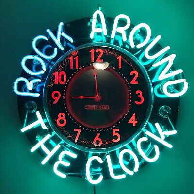 VINTAGE 1940s GLO DIAL NEON CLOCK - ROCK AROUND THE CLOCK - RARE FIND FOR SALE!!