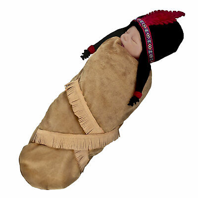 Halloween Baby Costumes 0 3 Months (Baby Animal Hide Native Papoose Halloween Costume Swaddle Beanie Hat 0-3)
