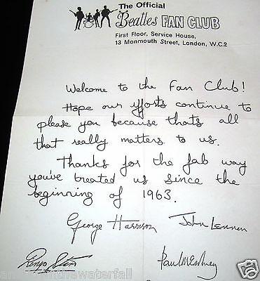 FAN CLUB Letter Autographed by 4 BEATLES Paul McCartney John Lennon Vintage Nice