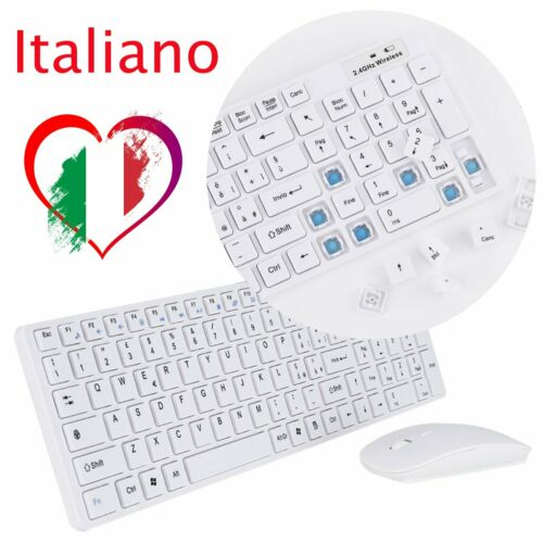 Italiana KIT TASTIERA E MOUSE MINI WIFI WIRELESS 2.4GHz KEYBOARD USB SENZA Yu
