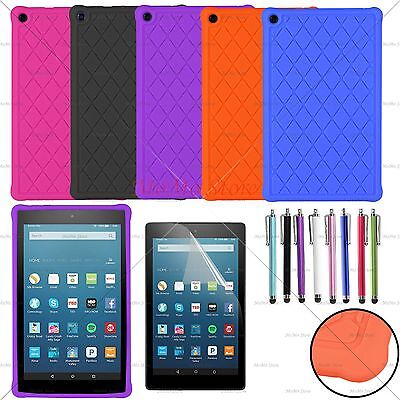 For 2016 2017 Amazon Kindle Fire HD 8 Soft Silicone Gel Rubber Case Cover + Film