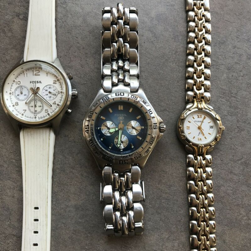 Great Lot of Three Fossil Watches all Three Watches Run Great Lot#17