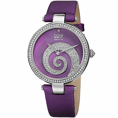 Women's Burgi BUR143PU Mother of Pearl Diamond Dial Swirled Crystal Pave Watch