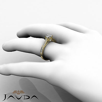 Channel Set Round Shape Diamond Engagement Ring GIA E VS2 18k Yellow Gold 0.8Ct 3
