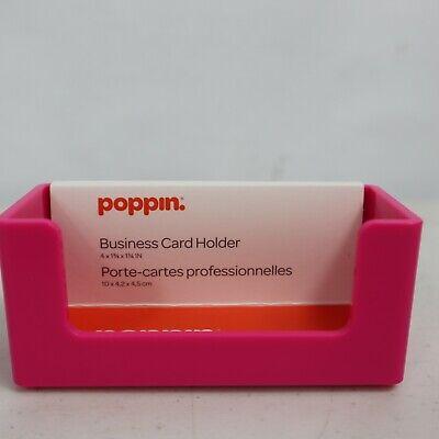Poppin Pink Business Card Holder Desktop Desk Office Standard Plastic Stand