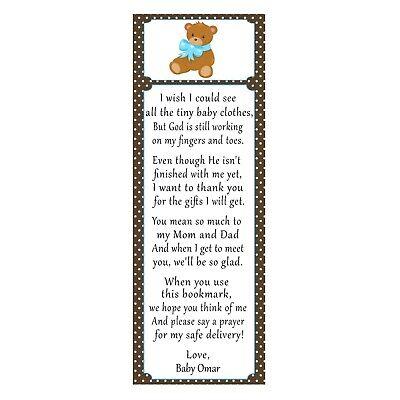 Baby Favor Ideas (30 bookmarks baby shower sprinkle favor ideas bear blue brown boy)