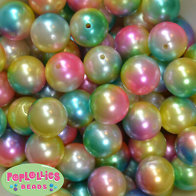 20mm Rainbow Multi Color Acrylic Faux Pearl Bubblegum Beads Chunky Gumball - Rainbow Gumballs