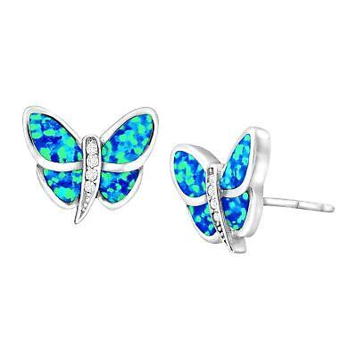Created Blue Opal & White Sapphire Butterfly Stud Earrings in Sterling -