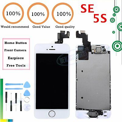 LCD Screen For iPhone SE 5S White Display Touch Digitizer Home Button Assembly