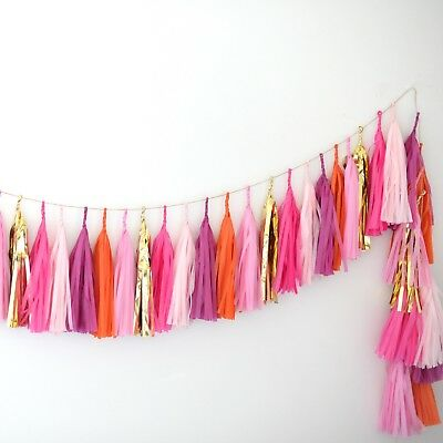Pink, orange and gold tissue paper Tassel Garland Banner - Party Decorations](Orange And Pink Decorations)