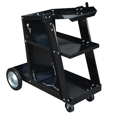 Steel Core Deluxe Migflux Welding Cart Rear Fixed Wheels Front Swivel Caster