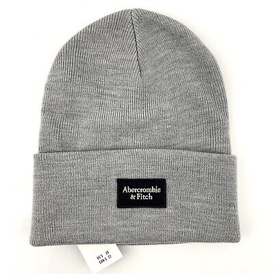 Abercrombie & Fitch Logo Patch GRAY Beanie Knit Hat A&F One Size
