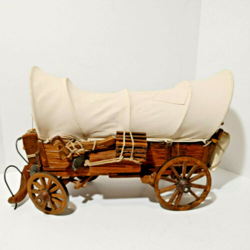 """Wooden Covered Wagon Stage Coach 19"""" x 17"""" x 12.5"""" Vintage Large"""