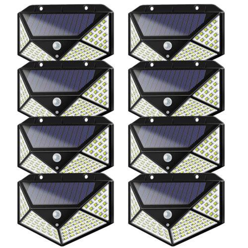 8 Pack 208 LED Solar Power PIR Motion Sensor Wall Light Outd