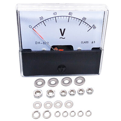 Us Stock Analog Panel Volt Voltage Meter Voltmeter Gauge Dh-670 0-100v Ac