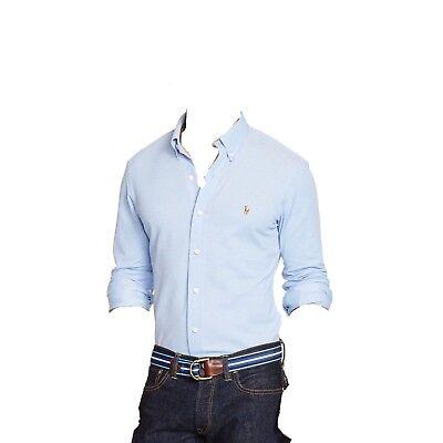 $545 POLO RALPH LAUREN Men BLUE LONG-SLEEVE PONY KNIT OXFORD DRESS SHIRT SIZE XL