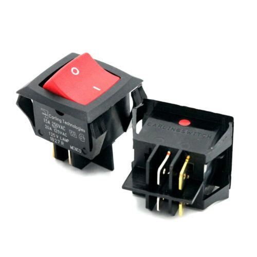 Carling Rocker Switch On Off Illuminated Red Light 20A 125V 15A 250V DPST 4 Pin