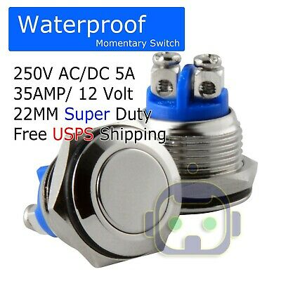 1PC 22mm waterproof black momentary metal flat top push button switch E/&AP