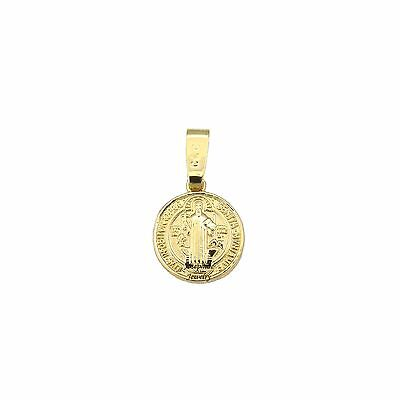 14k Gold Plated San Benito Saint Benedict Small Medal Charm Pendant (14k Gold Plated Charm)