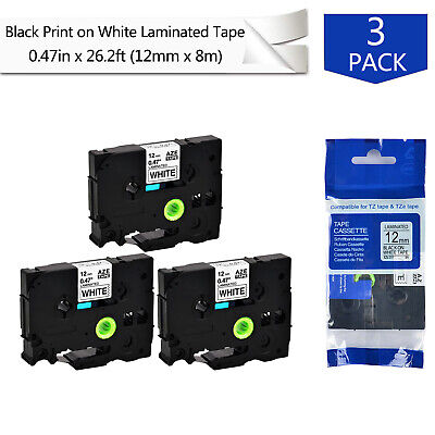 3pk 0.47 Label Tape For Tze-231 Tz-231 Brother P-touch Pt-d600 Black On White