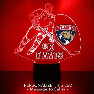 Florida Panthers Night Light Personalized FREE NHL Hockey Light Up LED -