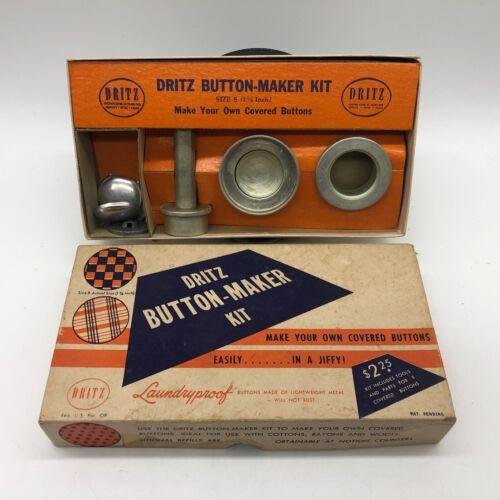 "Vintage 1947 Dritz Button-Maker Kit 1-1/8"" Size 8 Covered-Button DIY Craft Kit"