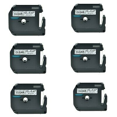 6pk Mk131 M-k131 Label Tape Black On Clear 12 For Brother P-touch Pt-85 Pt-90