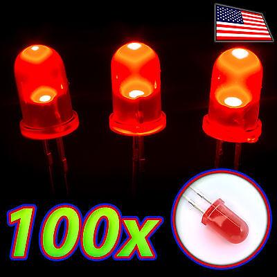 100x Led 5mm Red Super Bright Diffuse Lens Bulb